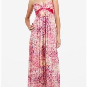 BCBG Kai sz 0 strapless gown pink gold metallic